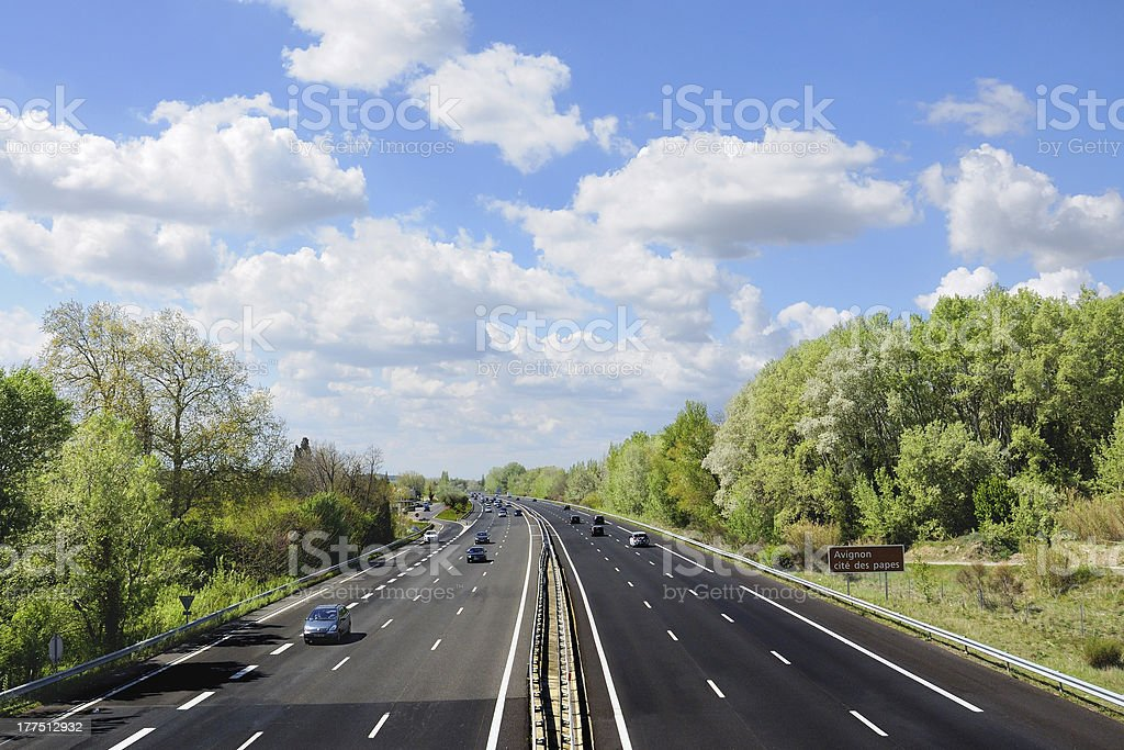 Autoroute française - Highway in France stock photo