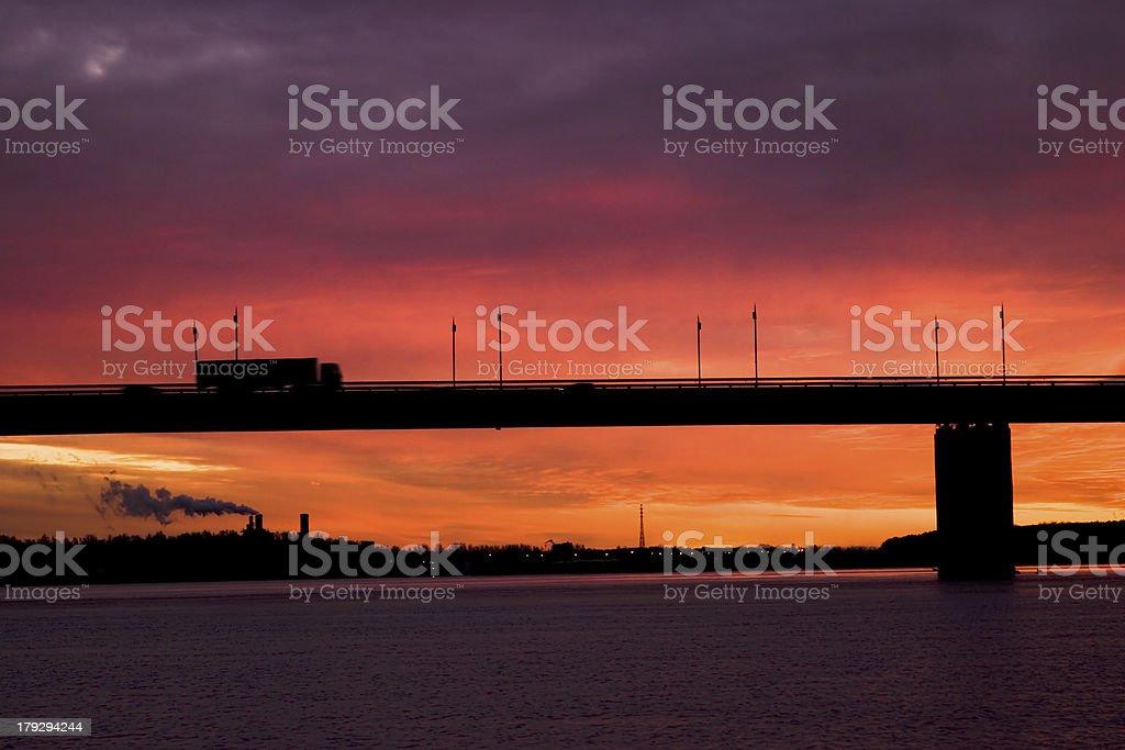 autotruck on the bridge royalty-free stock photo