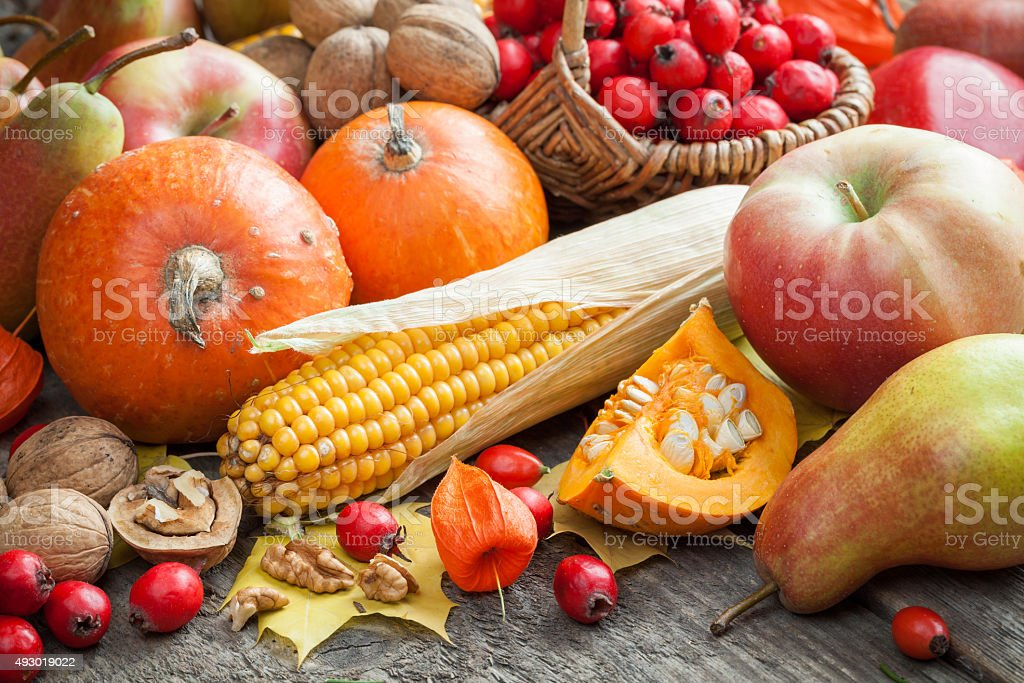 Autum fruit and vegetables. stock photo