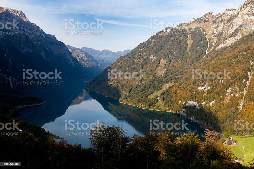 Autum Morning at Kl?ntalersee (Lake Kl?ntal), Canton of Glarus, Switzerland stock photo