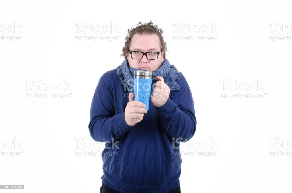 Autumn. A cold man. stock photo