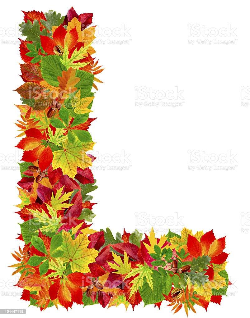 L, autumn alphabet royalty-free stock photo
