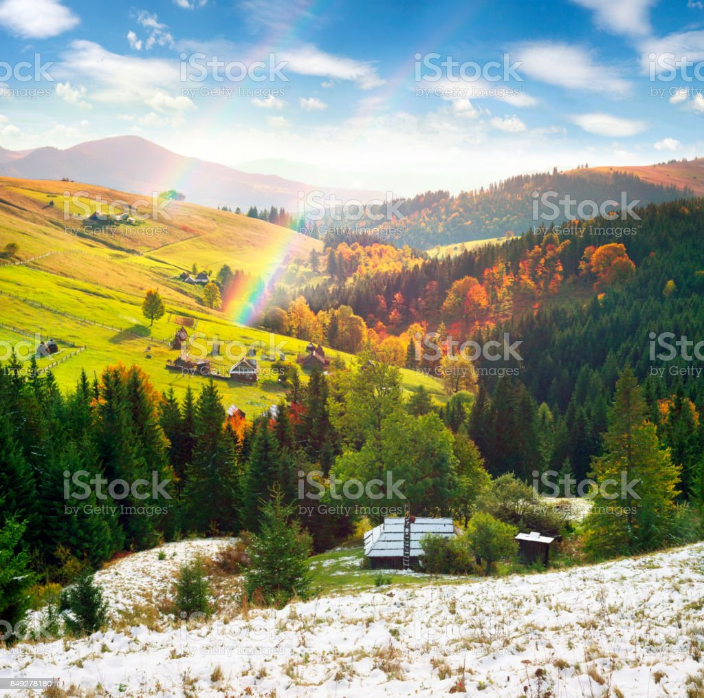 Autumn and winter in the mountains stock photo