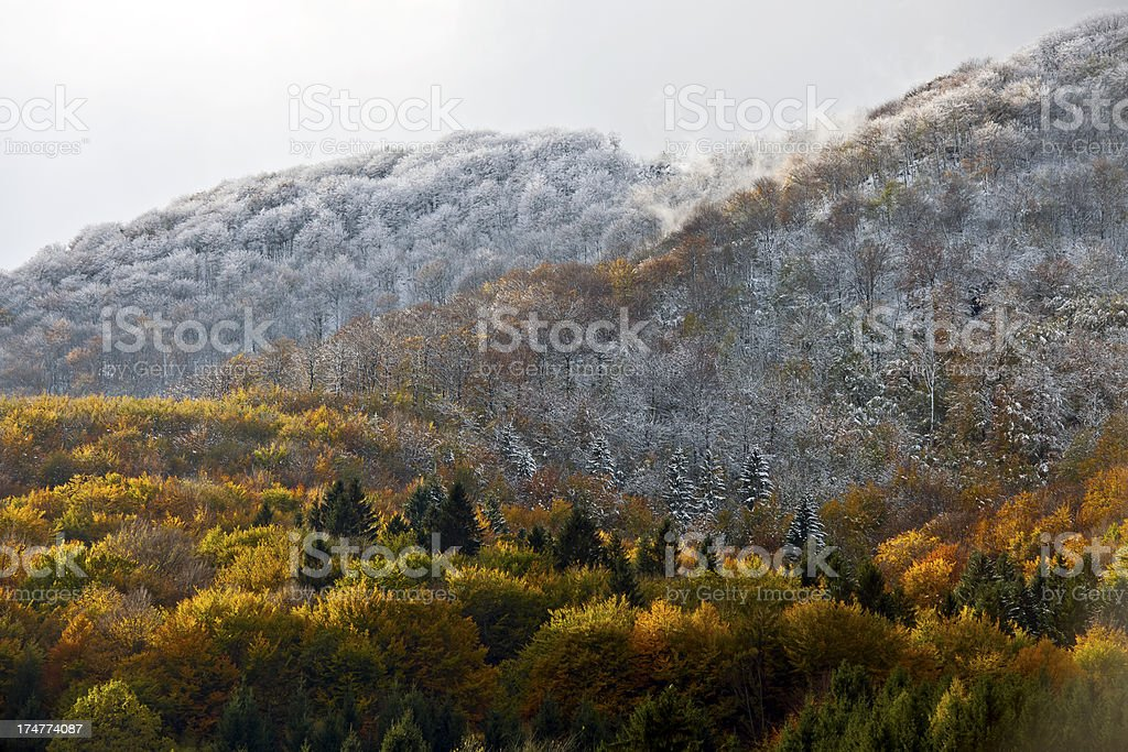 Autumn and Winter in Unison Planina Slovenia stock photo