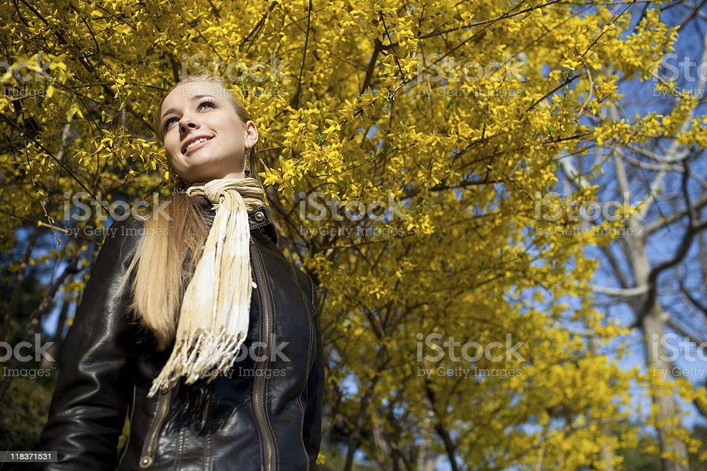 Autumn and woman stock photo