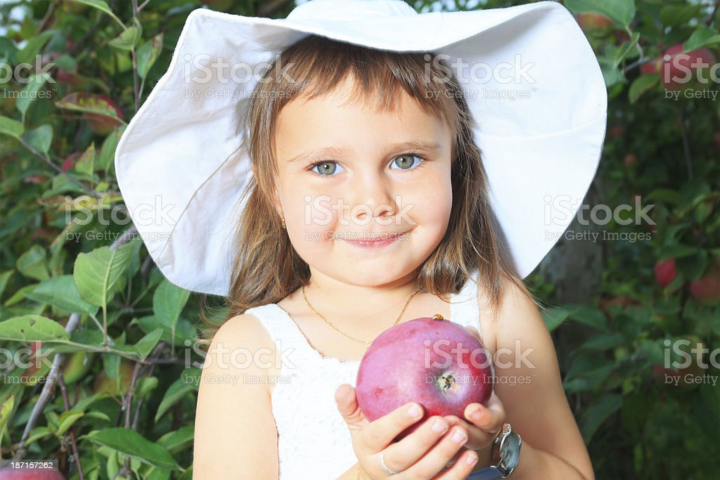 Autumn Apple - Girl With royalty-free stock photo