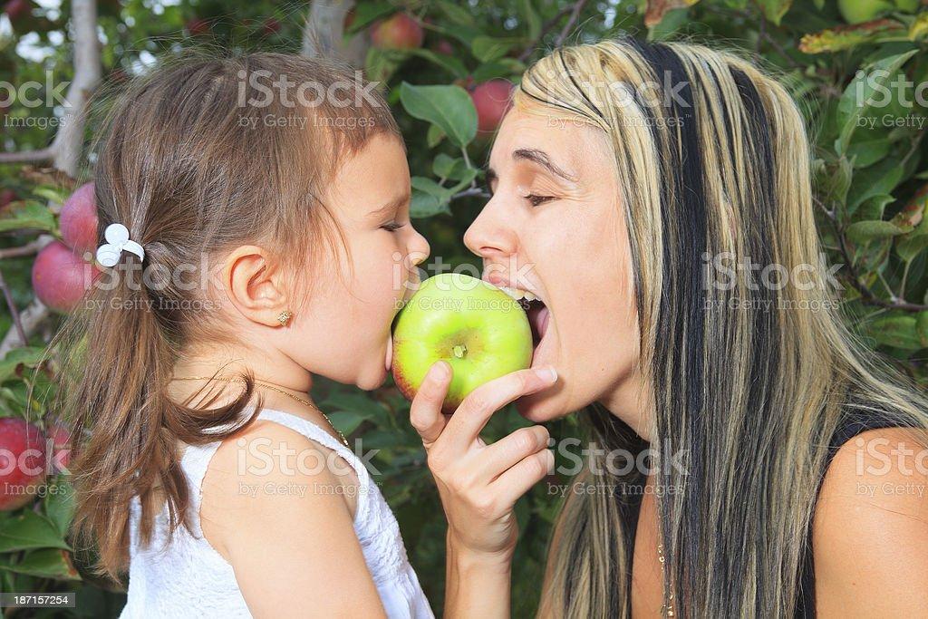 Autumn Apple - Mother Fun Eat royalty-free stock photo