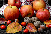 Autumn apples and nuts