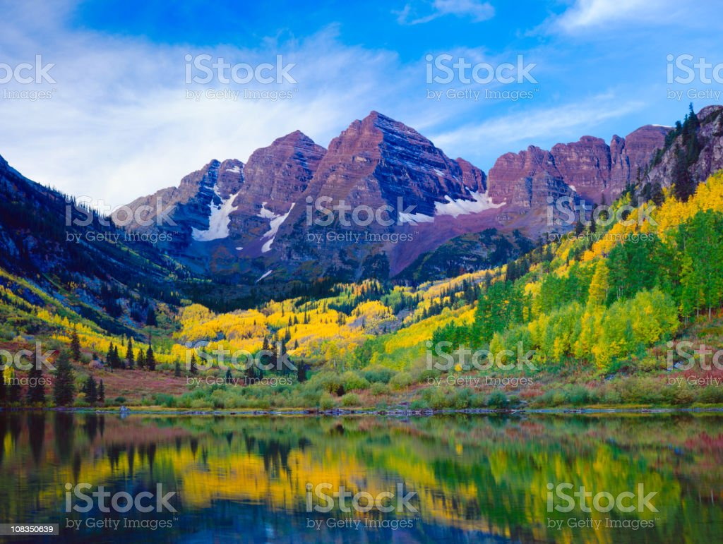 Autumn Aspen landscape with mountains, trees, and lake view stock photo