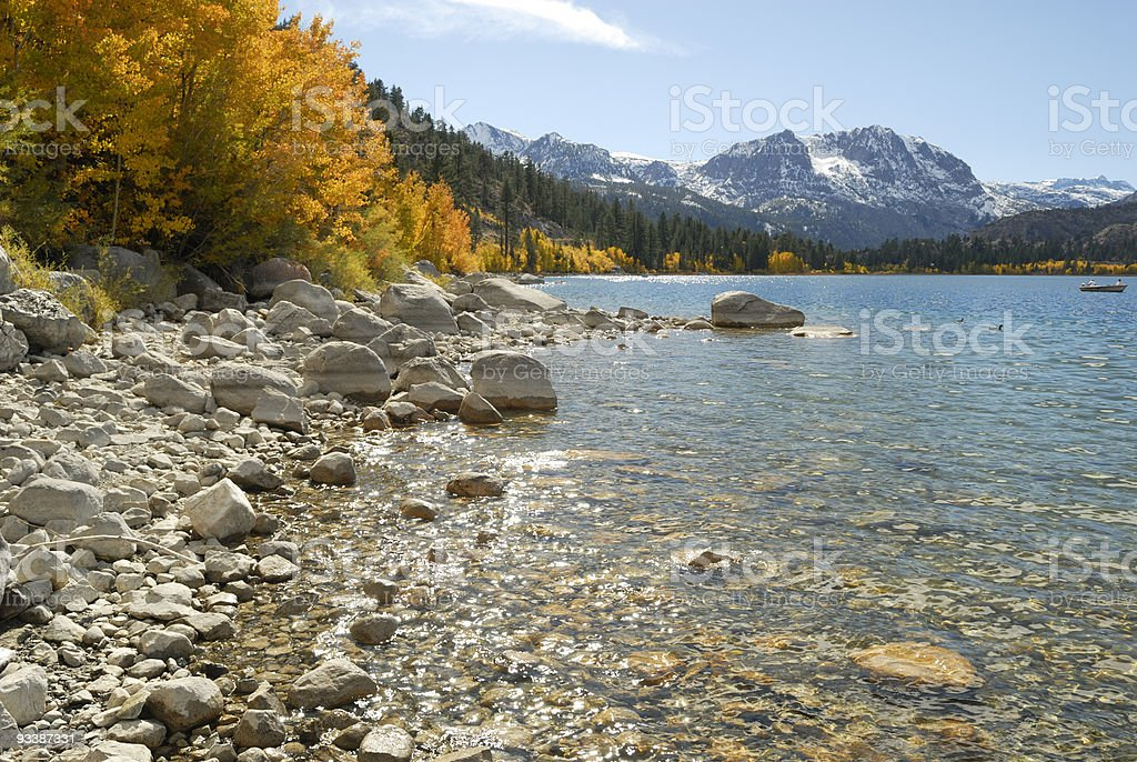 Autumn at an alpine lake in Sierra Nevada, California stock photo