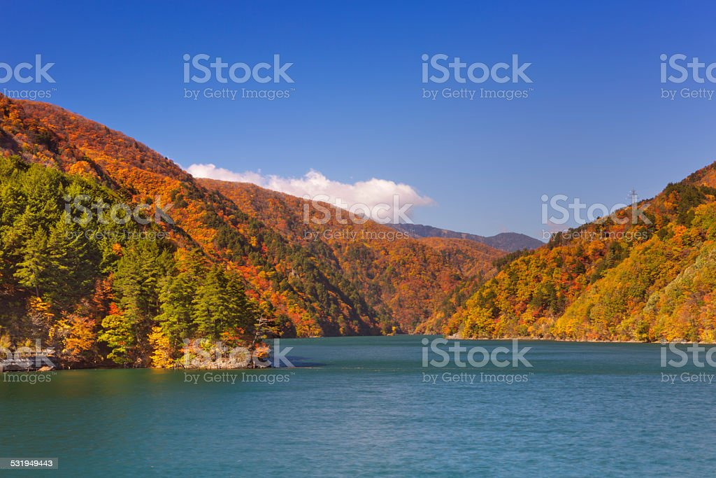 Autumn at Azusa Lake in the Japanese Alps stock photo