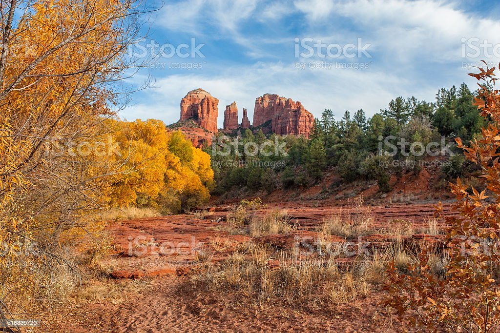 Autumn at Cathedral Rock stock photo