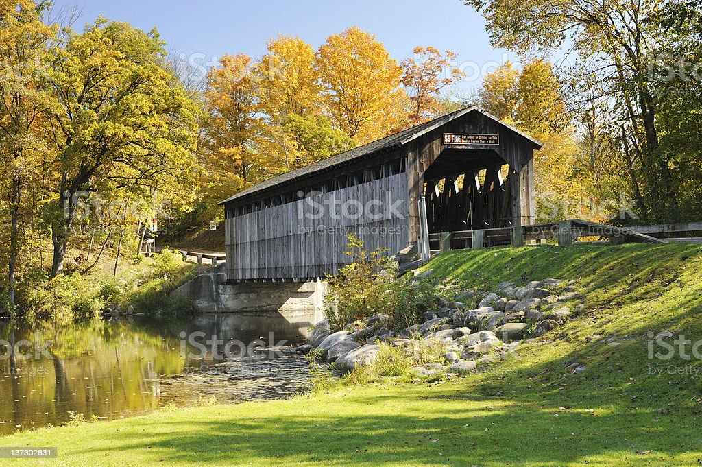 Autumn at Fallasburg Covered Bridge, Lowell Michigan, USA stock photo