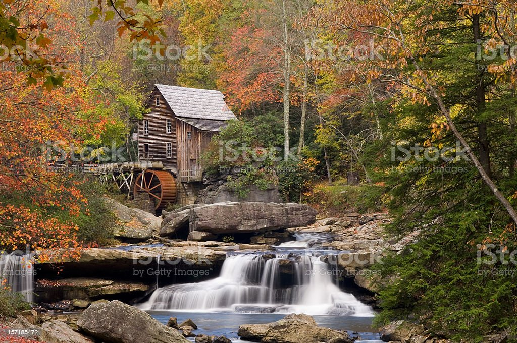Autumn at Glade Creek Grist Mill, Babcock State Park stock photo