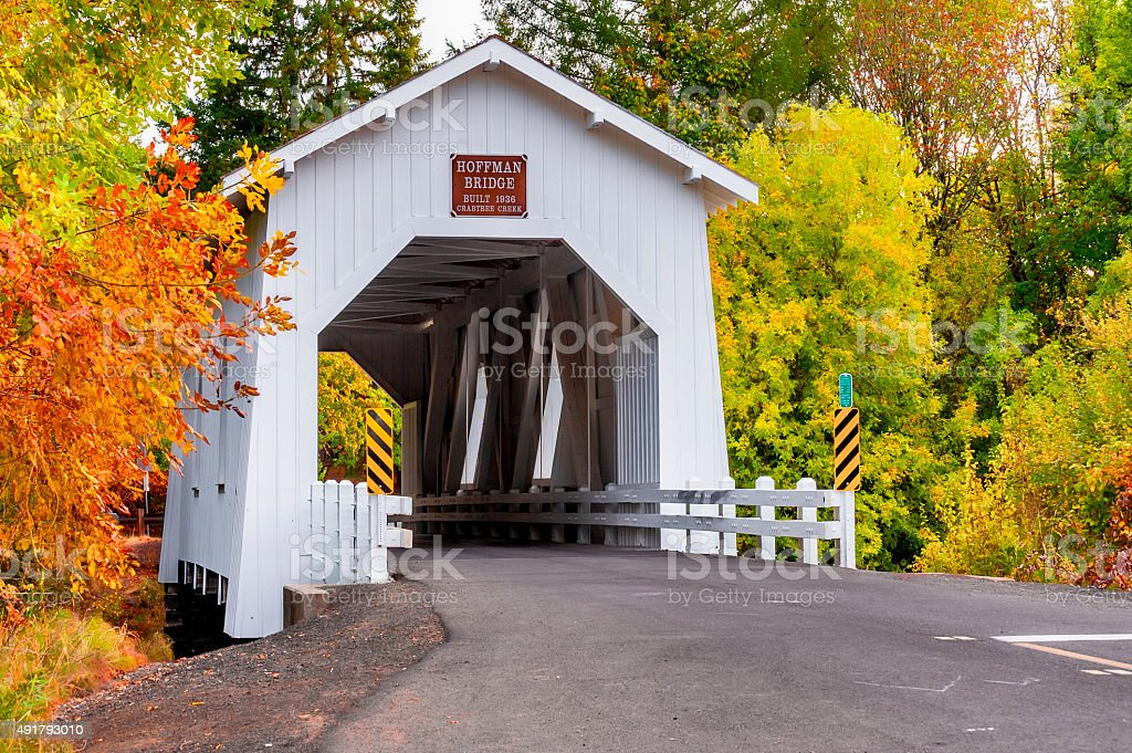 Autumn at Hoffman Covered Bridge stock photo