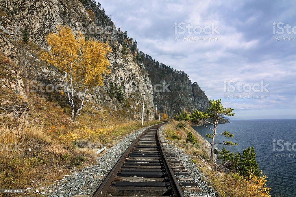 Autumn at Lake Baikal stock photo