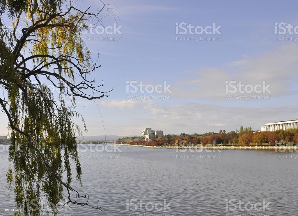 Autumn at Lake Burley Griffin stock photo