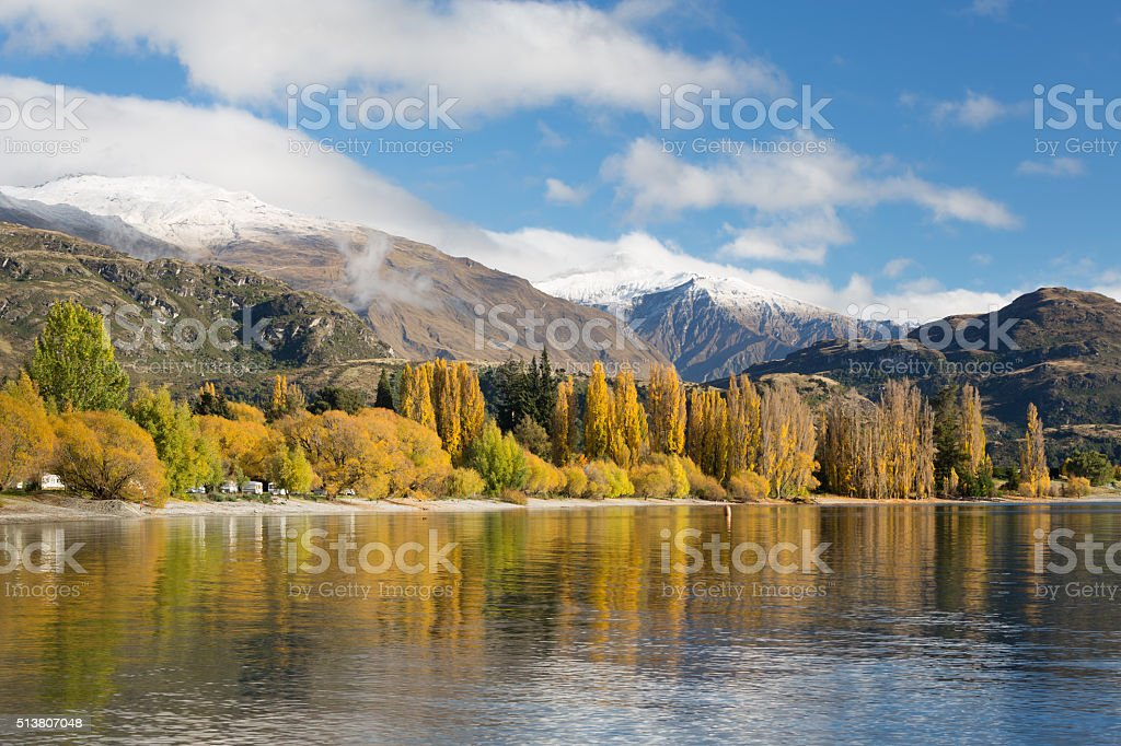 Autumn at Lake Wanaka, New Zealand stock photo