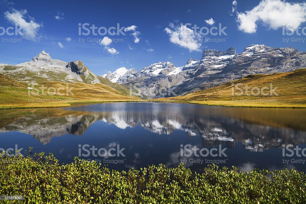 Autumn at montain lacke stock photo