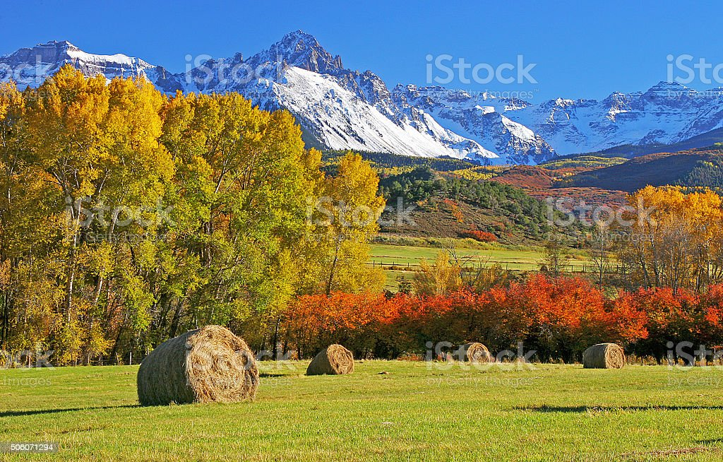 Autumn at Mount Sneffels stock photo