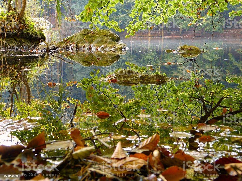 Autumn at mountain lake stock photo