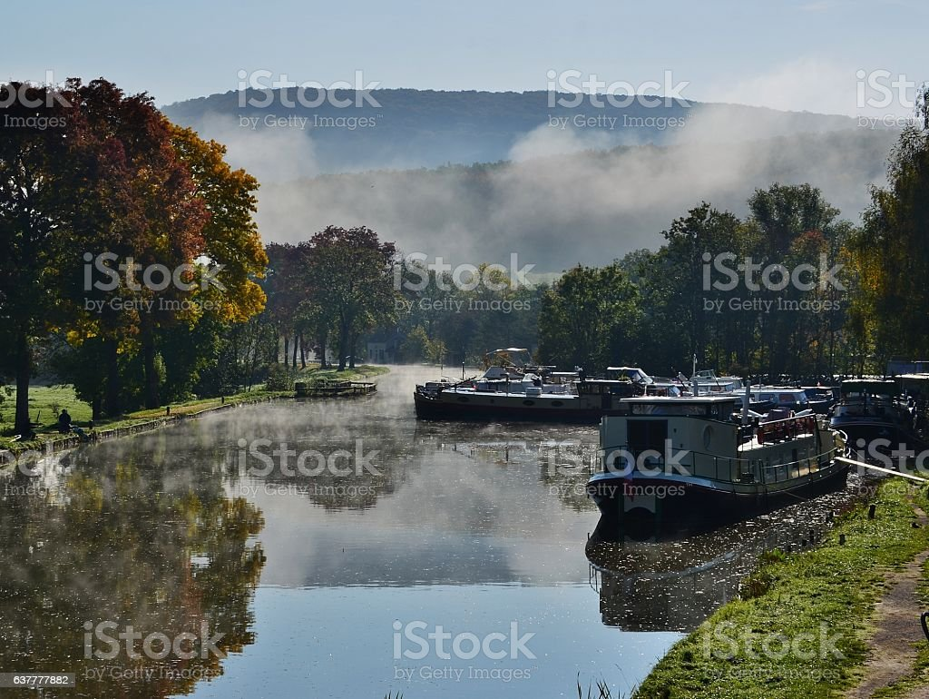 Autumn at Pont D'ouche Burgundy France stock photo