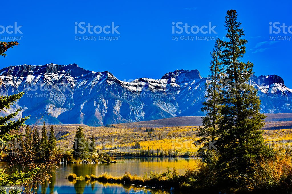 Autumn at Talbot Lake in Jasper National Park stock photo