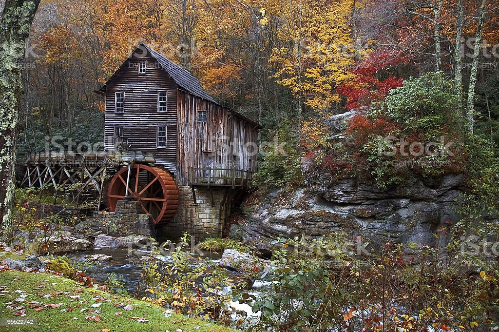Autumn at the Grist Mill stock photo