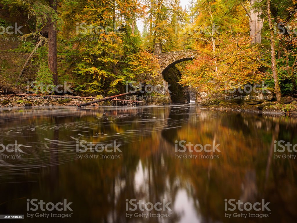 Autumn at the hermitage, Dunkeld. stock photo