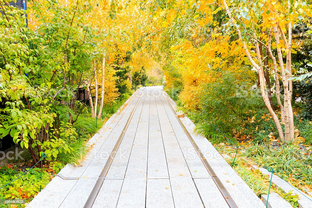 Autumn at the High Line in New York City stock photo