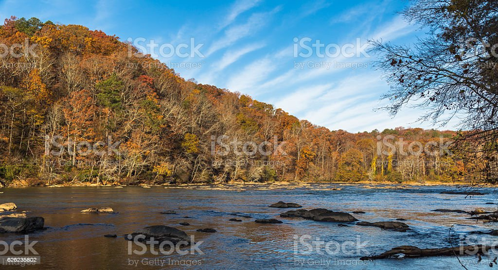 Autumn at the river stock photo