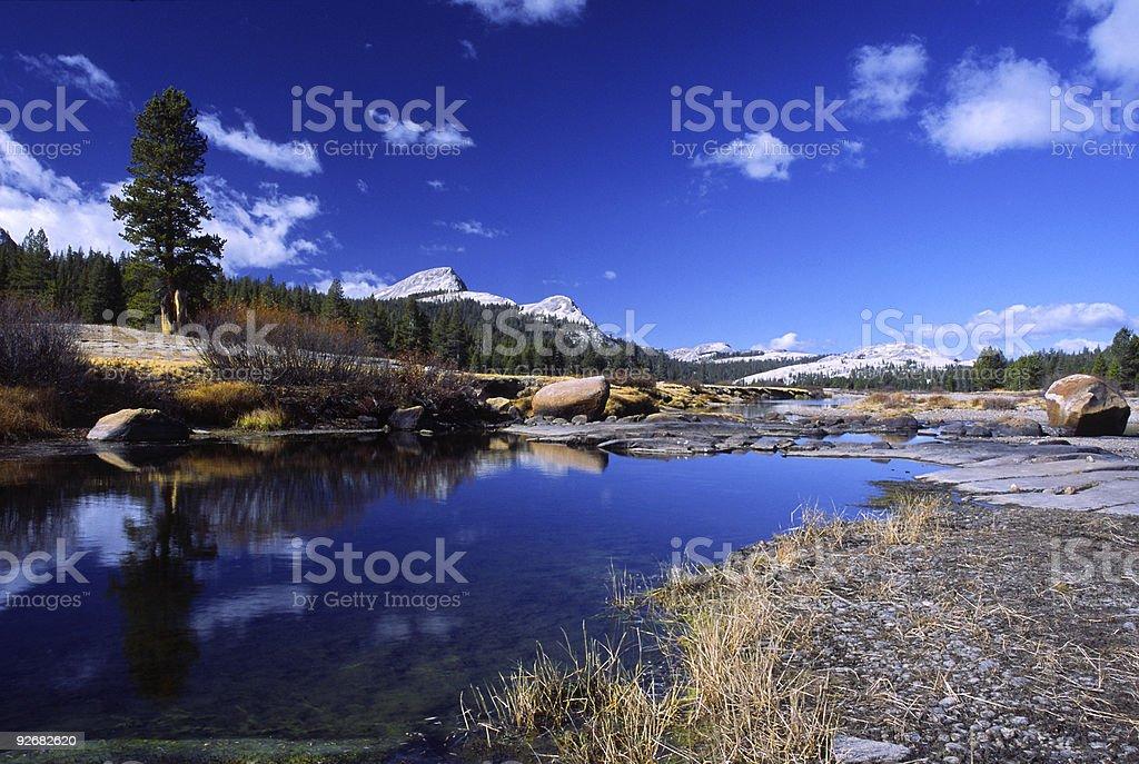 Autumn at Tuolumne River in Yosemite stock photo