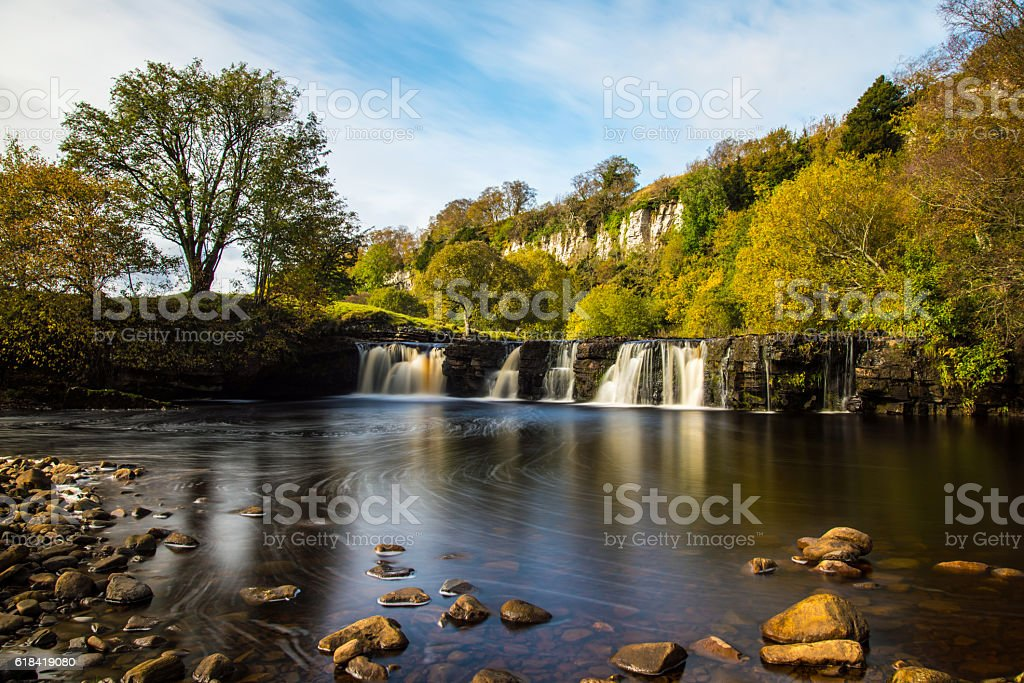 Autumn at Wain Wath Force in Swaledale. stock photo