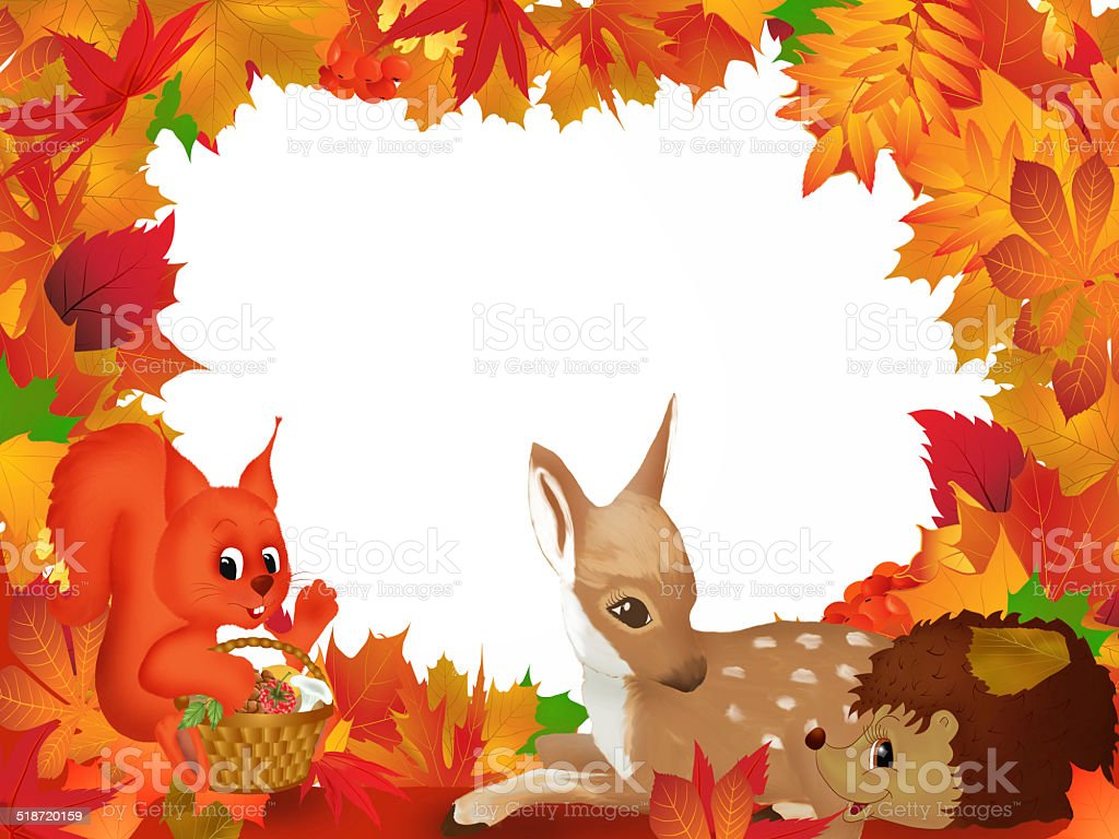 Autumn background with forest animals stock photo