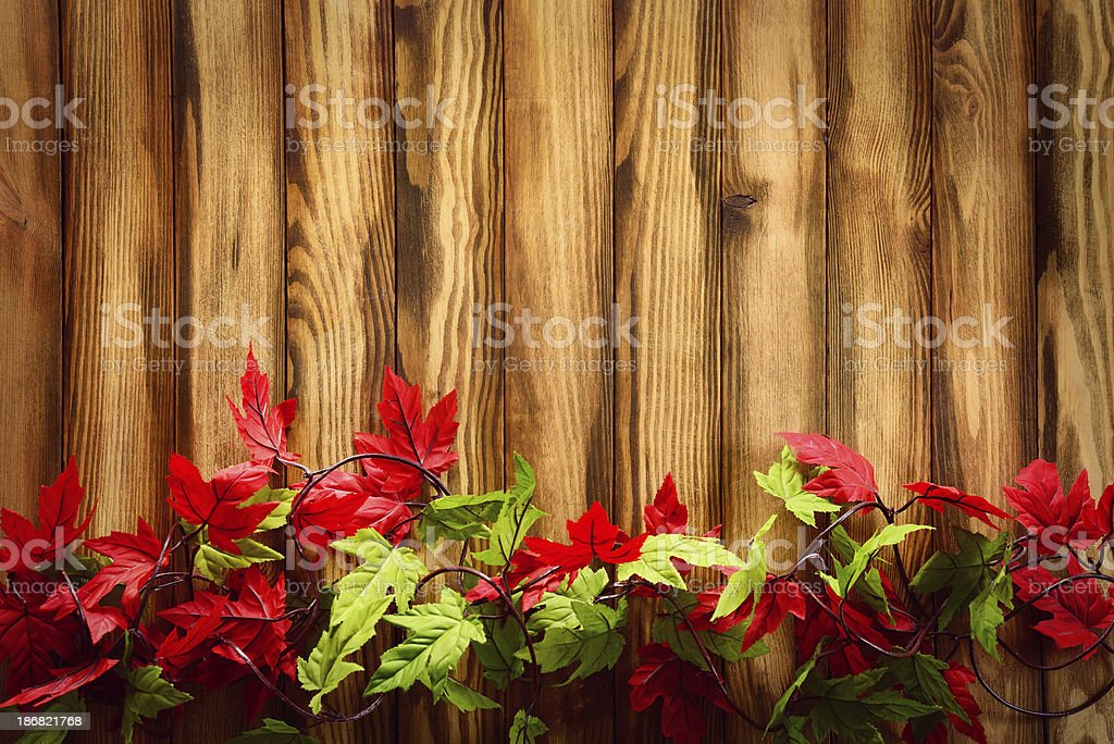 Autumn background with maple leaves and copy space on woods royalty-free stock photo