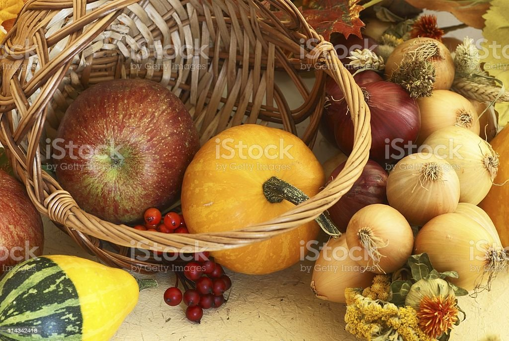 Autumn basket stock photo