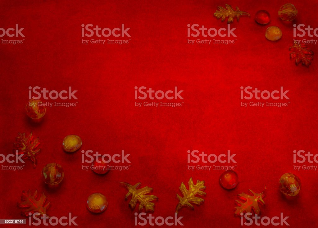 Autumn beads edge a suede background (P) stock photo