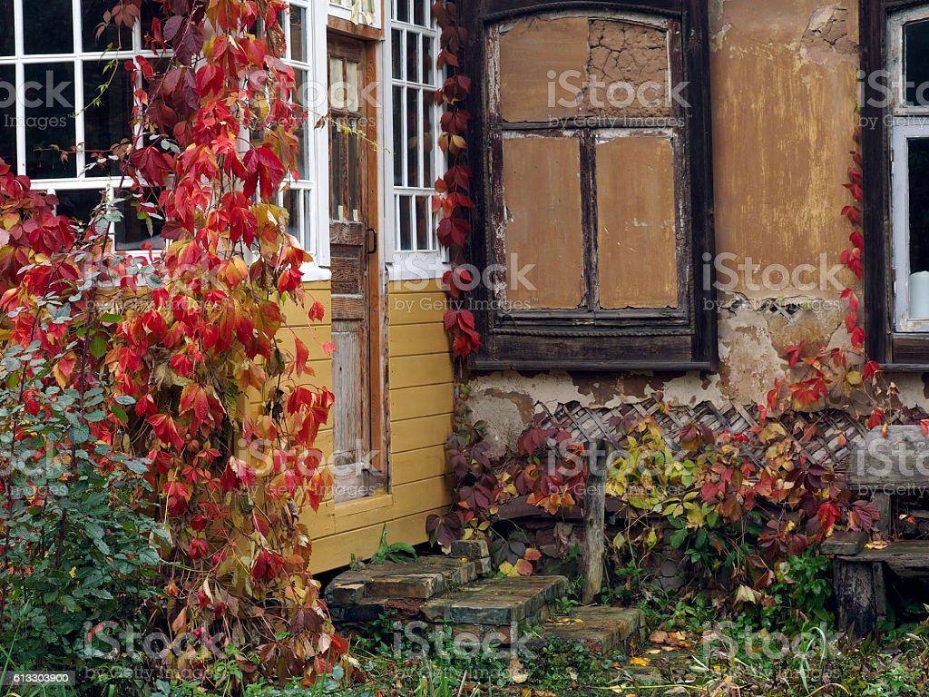 Autumn. Beautiful porch of the old farmhouse stock photo