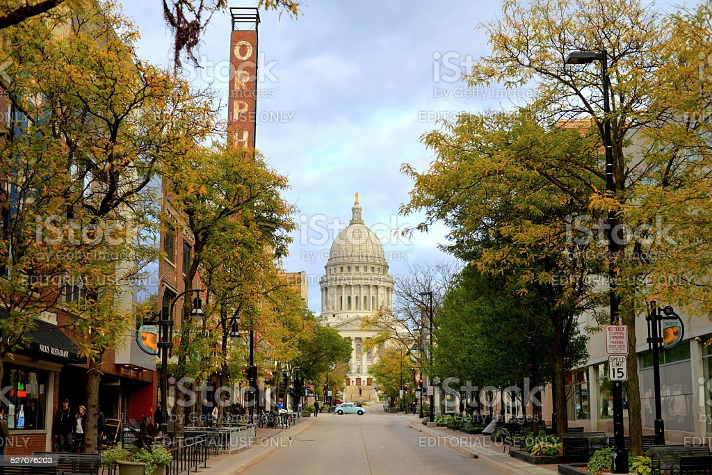 Autumn Beauty on State Sreet in Madison stock photo