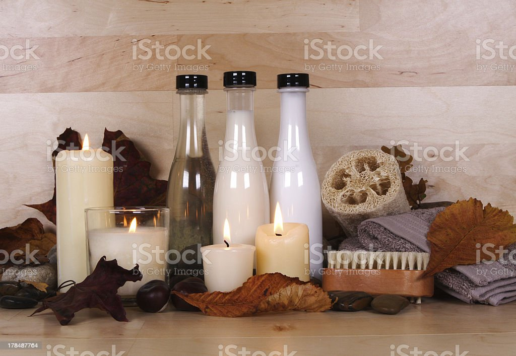 autumn beauty products stock photo