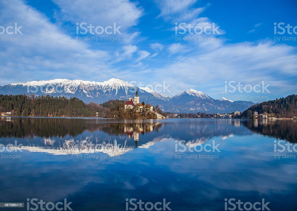 Autumn Bled Lake with boats , Slovenia stock photo