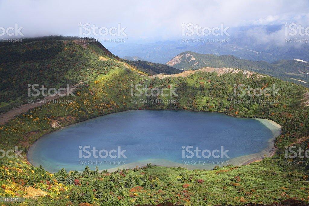 Autumn blue pond stock photo