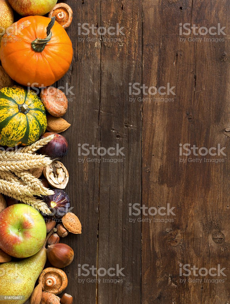 Autumn border on a wooden table stock photo