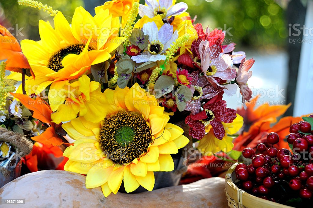 Autumn Bouquet, colorful autumn decoration stock photo