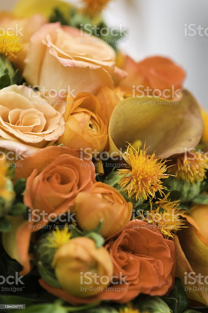 Autumn Bride's Bouquet of Colorful Orange Flowers royalty-free stock photo