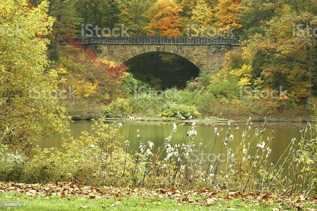 Autumn Bridge - Youngstown, Ohio stock photo