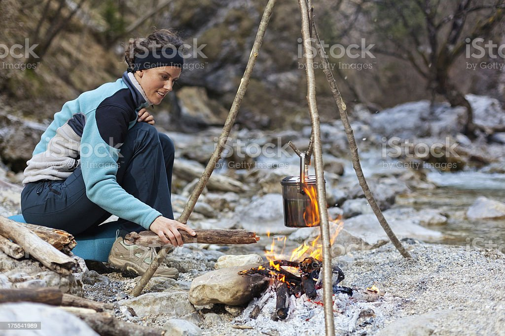 autumn camping by the river royalty-free stock photo