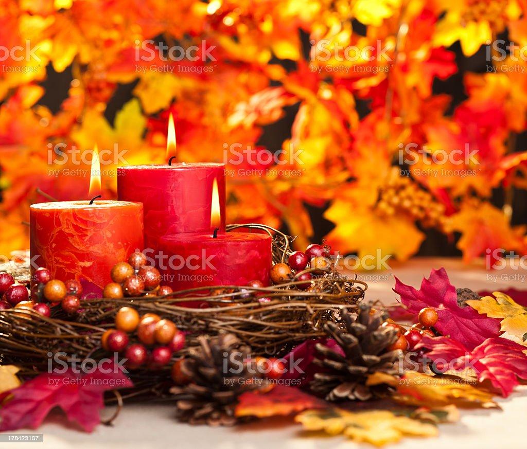 Autumn candles royalty-free stock photo