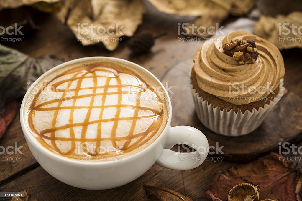 Autumn Caramel Coffee and Cupcake stock photo