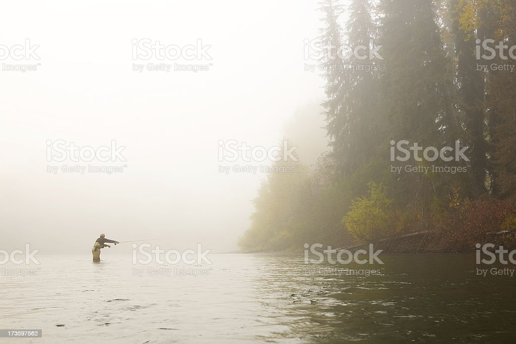 Autumn Casting - Kispiox River, BC stock photo
